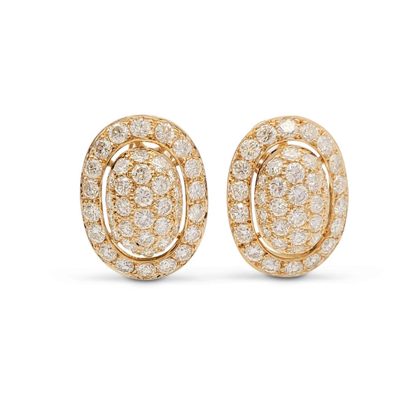 Cartier Paris Yellow Gold Pavé Diamond Earrings