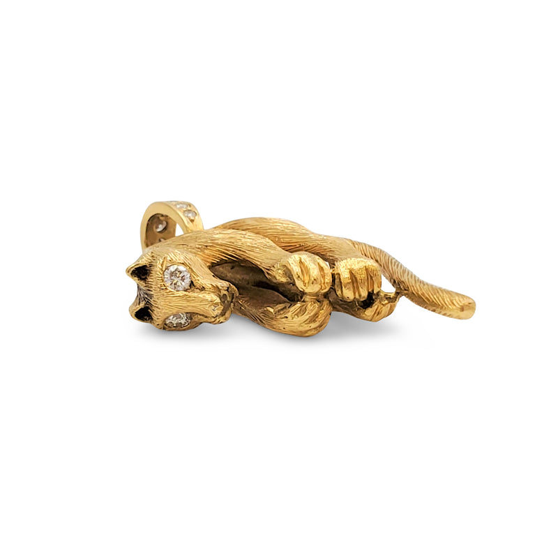 Vintage Yellow Gold and Diamond Panther Pendant
