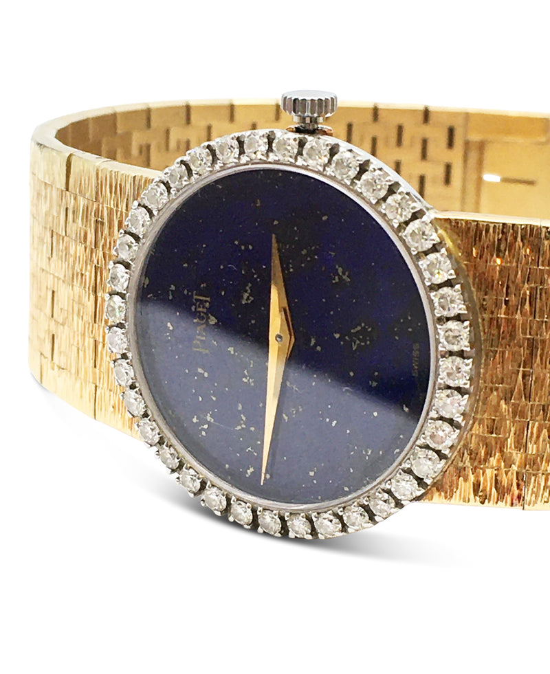 Piaget Yellow Gold Diamond and Lapis Dial Watch