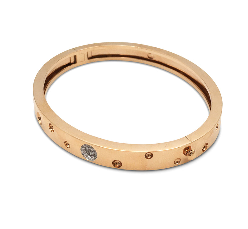 Roberto Coin Pois Moi Luna Thin Rose Gold and Pave Diamond Bangle