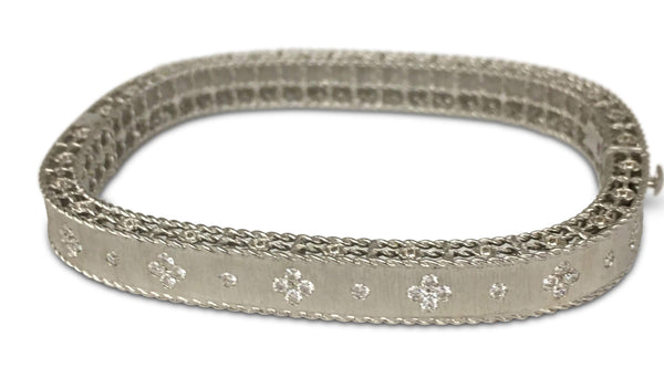 Roberto Coin White Gold Bracelet with Fleur-de-Lis Diamonds