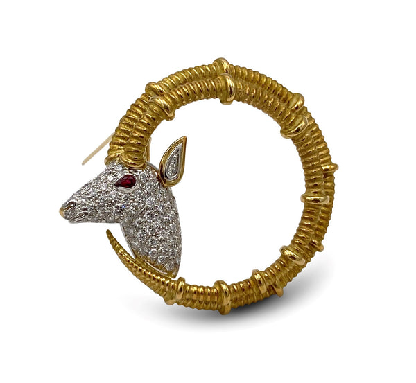 Jean Schlumberger for Tiffany & Co. Gold Platinum and Diamond Ibex Ram Head Brooch