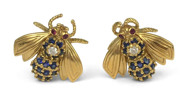 Vintage Tiffany & Co. Gold Gem Set Bumblebee Earrings