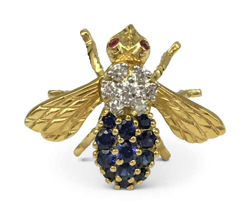 Whimsical Gold Diamond and Sapphire Bumble Bee Pin