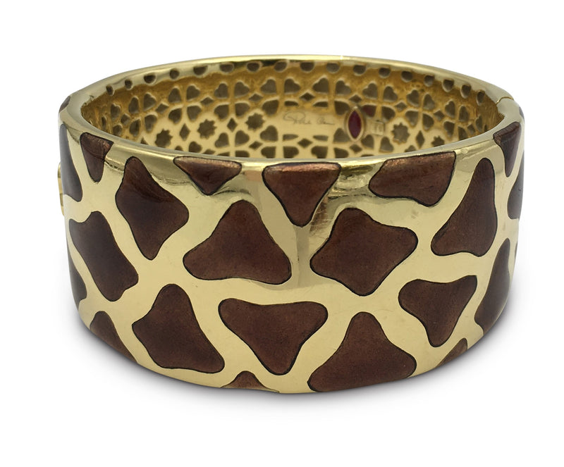 Roberto Coin Gold Enamel Giraffe Bangle