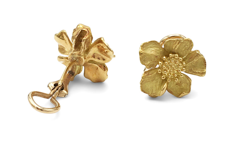 Tiffany & Co. Dogwood Flower Gold Ear Clips
