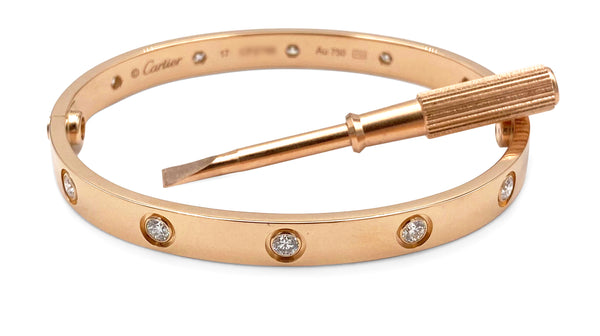 Cartier Love Rose Gold 10 Diamond Bracelet