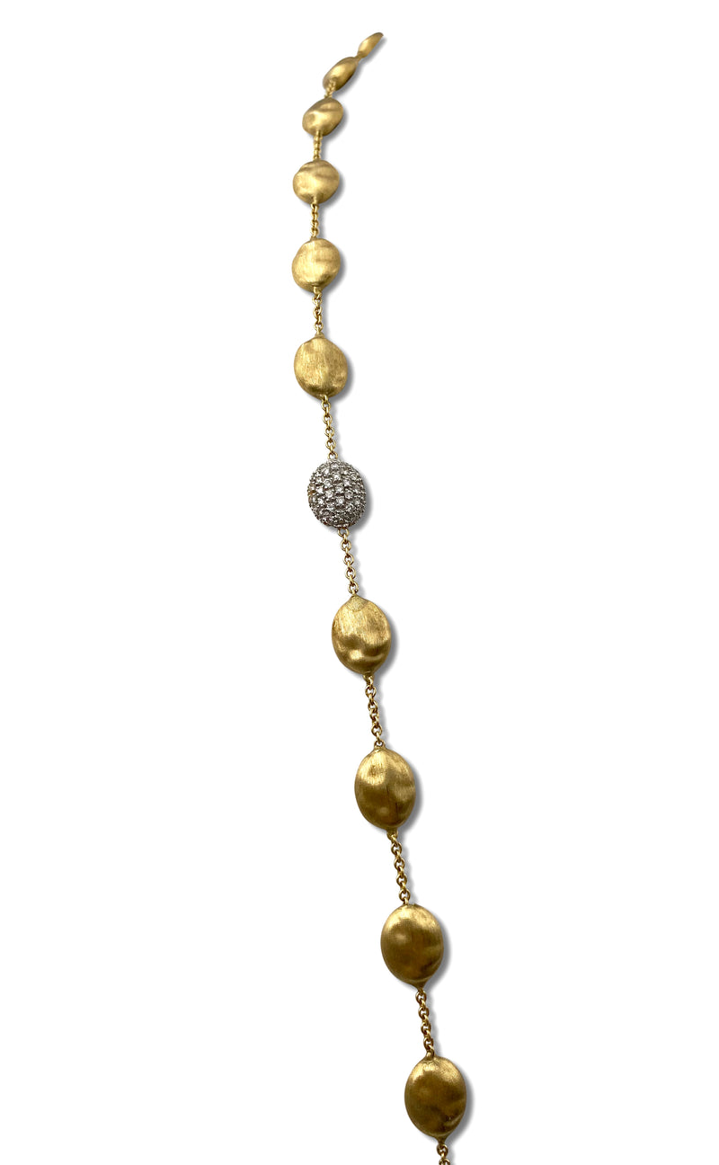 Marco Bicego Siviglia Gold and Diamond Pave Large Bead Long Necklace