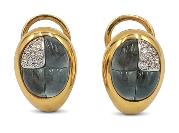 Pomellato Gold Diamond and Blue Topaz Earrings
