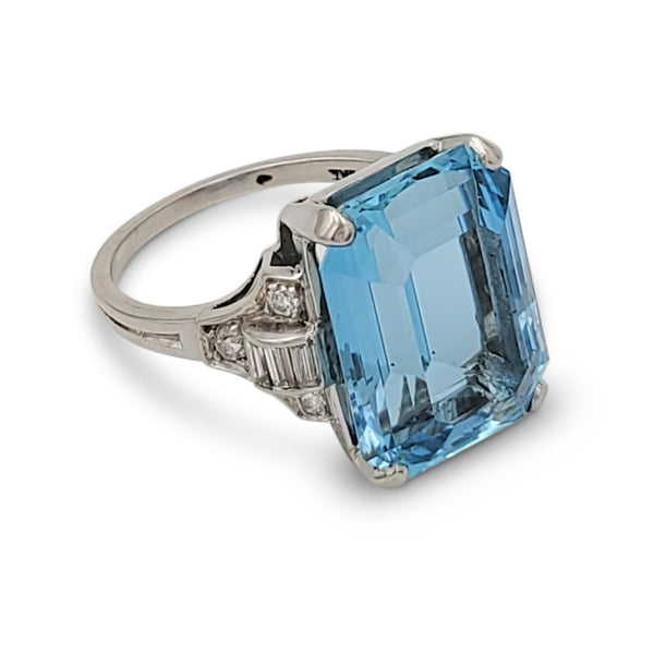 Retro Tiffany & Co. Platinum Aquamarine and Diamond Ring