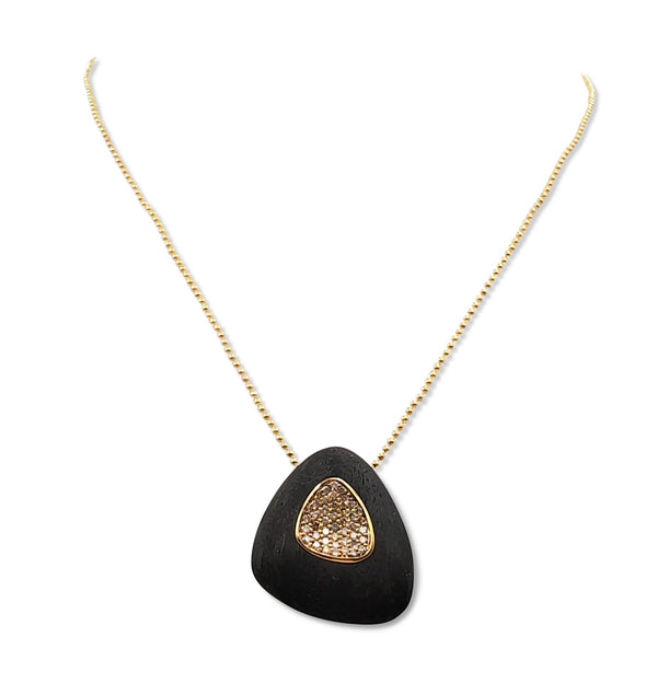 Roberto Coin Capri Plus Ebony Wood and Diamond Necklace