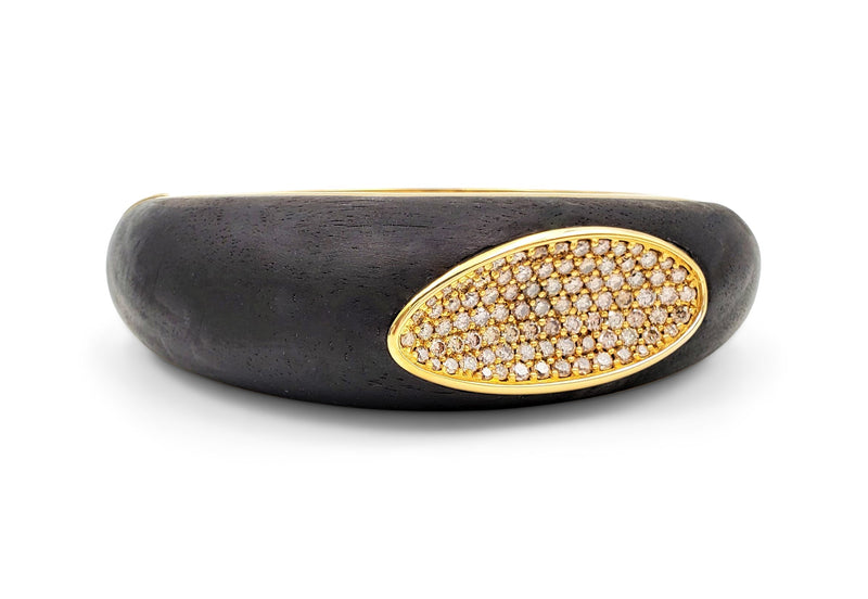 Roberto Coin Capri Plus Ebony Wood and Diamond Bangle