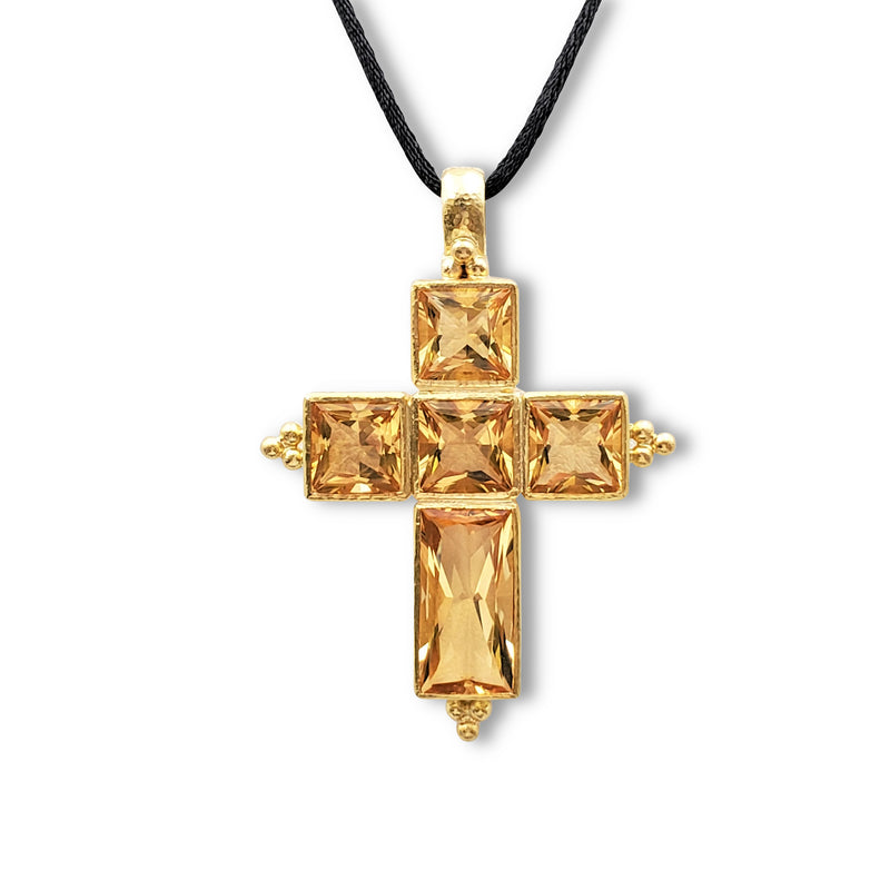 Elizabeth Locke Yellow Gold and Citrine Cross Pendant