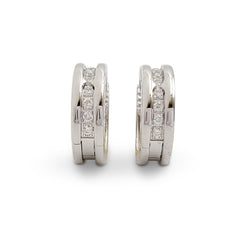 Bulgari B.zero1 Small White Gold and Diamond Hoop Earrings