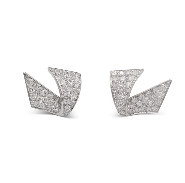 Mid-Century White Gold and Diamond Ribbon Earrings