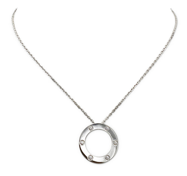 Cartier Love White Gold 6 Diamond Circle Charm Necklace