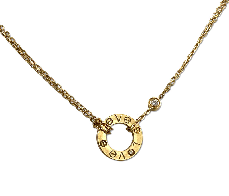 Cartier Love Yellow Gold Diamond Circle Charm Necklace