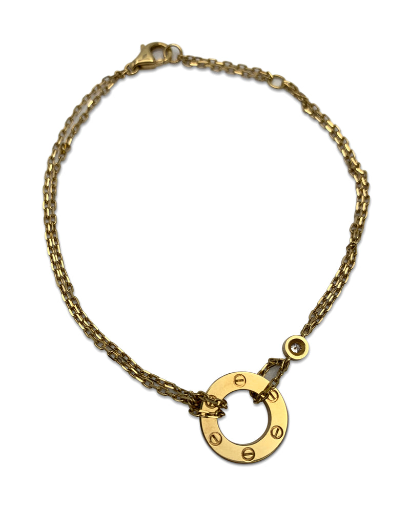 Cartier Love Yellow Gold Diamond Circle Charm Bracelet