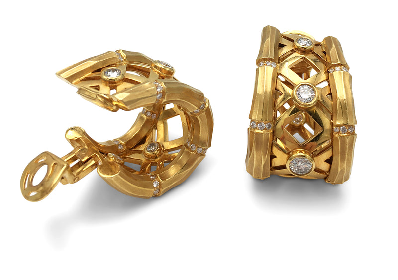 Cartier Bamboo Yellow Gold and Diamond Earrings