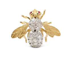 Herbert Rosenthal Gold Diamond and Ruby Bumblebee Pin