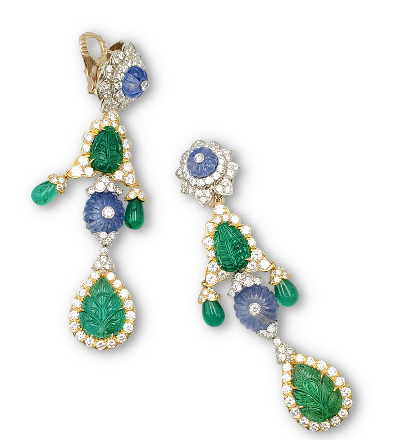 David Webb Girandole Diamond and Gemstone Earrings