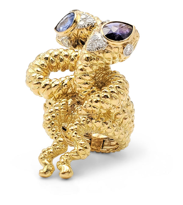 David Webb Gold Sapphire and Diamond Double Serpent Ring