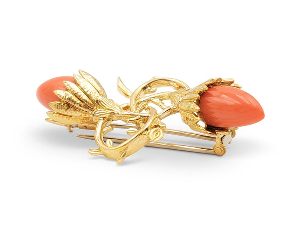 Jean Schlumberger for Tiffany & Co. Coral Acorn and Foliate Brooch