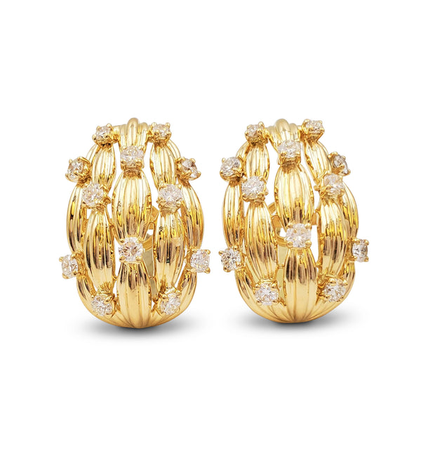 Tiffany & Co. Signature Series Gold and Diamond Earrings