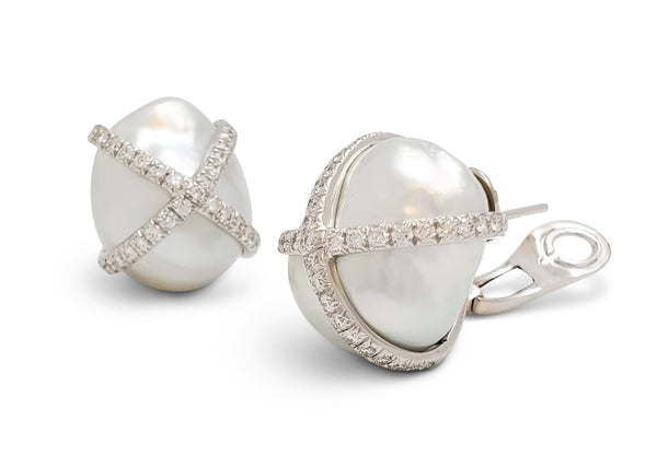 Verdura Baroque South Sea Pearl and Diamond Earrings