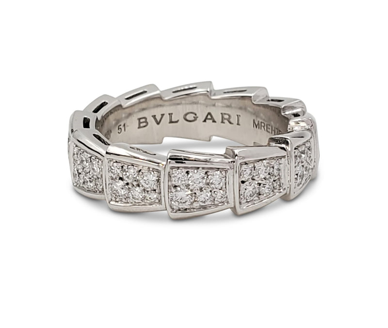 Bulgari Serpenti Viper White Gold and Diamond Pavé Ring