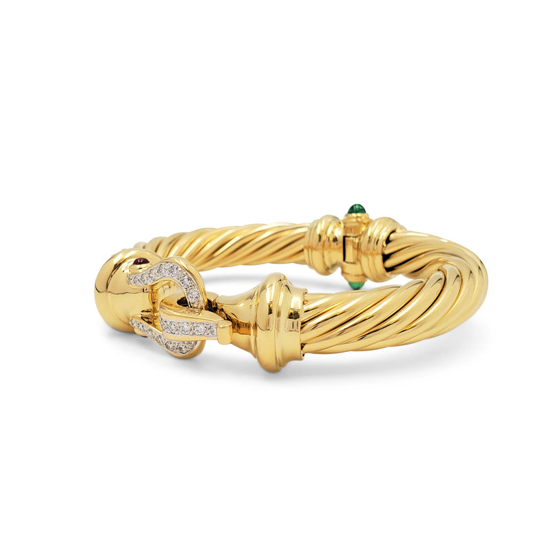 David Yurman Yellow Gold Diamond and Gemstone Cable Buckle Bracelet