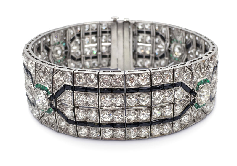 Platinum Art Deco Diamond Emerald and Onyx Bracelet