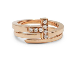Tiffany & Co. Tiffany T  Rose Gold and Diamond Square Wrap Ring