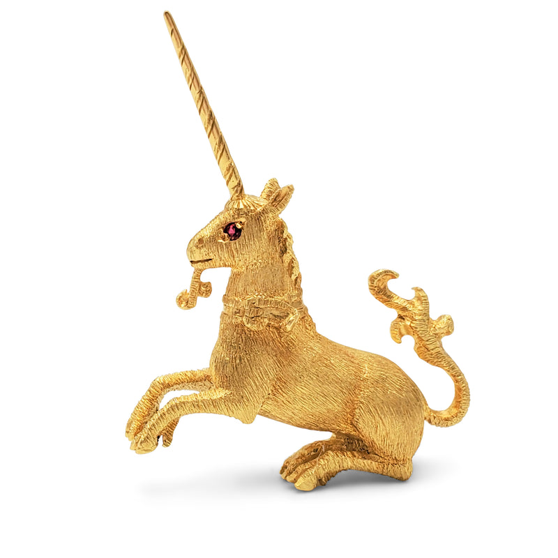 Yellow Gold Unicorn Brooch