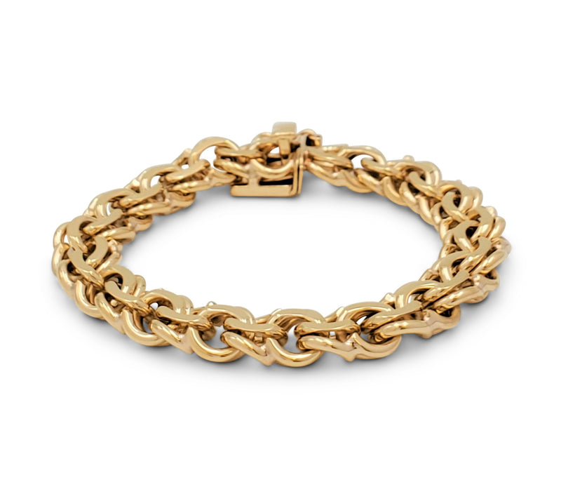 Mid-Century Yellow Gold Fancy Link Bracelet