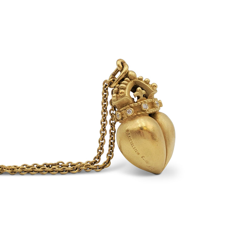 Vintage Barry Kieselstein-Cord Yellow Gold Heart and Crown Pendant Necklace