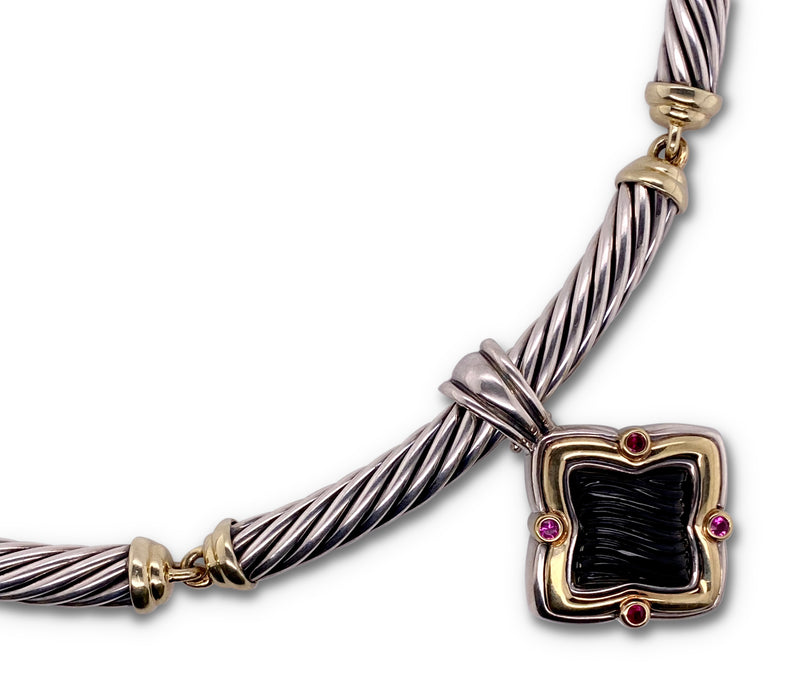 David Yurman Silver and Gold Onyx Garnet Quatrefoil Pendant Necklace