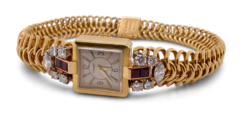 Retro Cartier Gold Diamond and Ruby Ladies Dress Watch