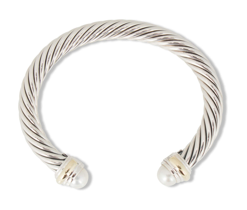 David Yurman Silver and Gold Pearl Cable Bracelet