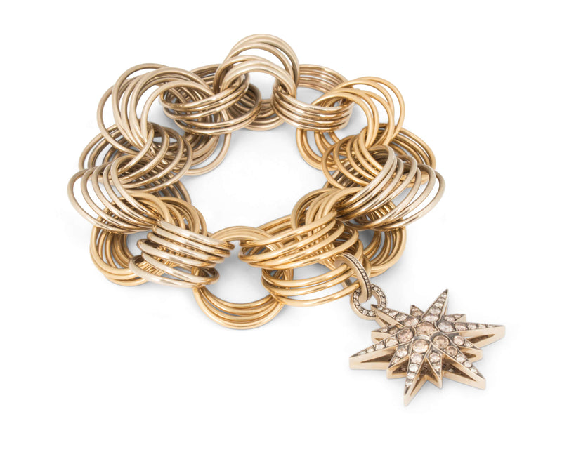 H. Stern Two-Tone Gold Ring Bracelet with Star Collection Pendant