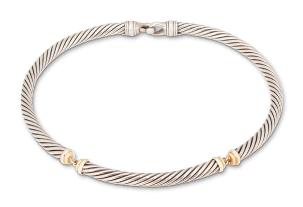 David Yurman Silver and 18 Karat Gold Choker Necklace