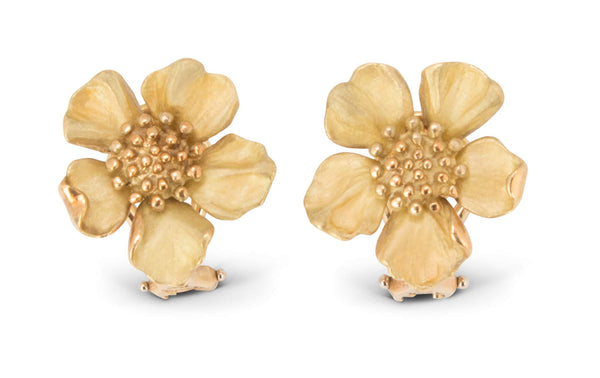 Tiffany & Co. 18 Karat Gold Dogwood Flower Ear Clips