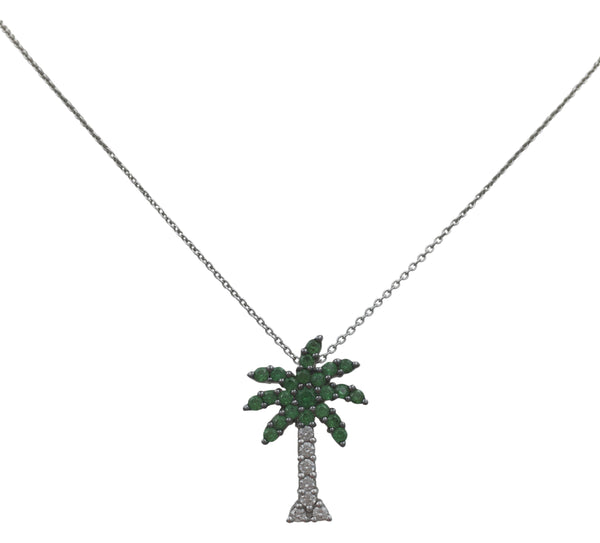 Roberto Coin White Gold Diamond and Tsavorite Palm Tree Pendant Necklace