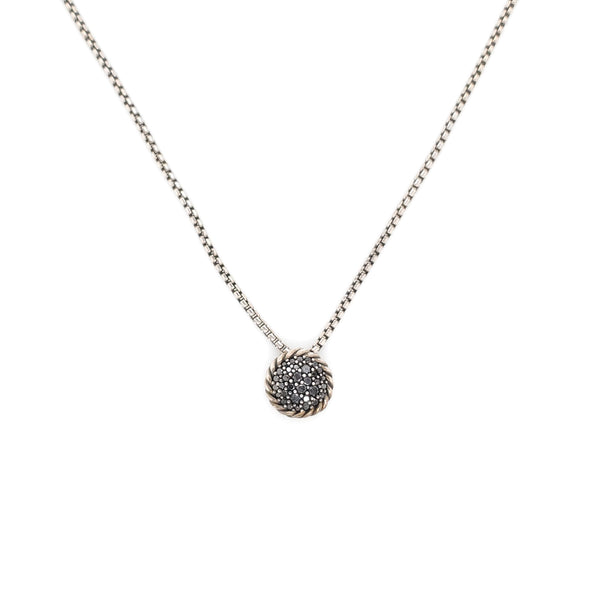 David Yurman Silver Petit Pavé Black Diamond Pendant Necklace