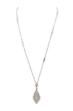 Art Deco Platinum and Gold Diamond Pendant Sautoir Necklace