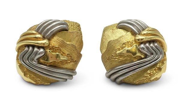 Henry Dunay Cinnabar Gold and Platinum Earrings