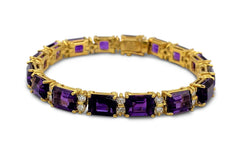 La Triomphe Gold Amethyst and Diamond Bracelet