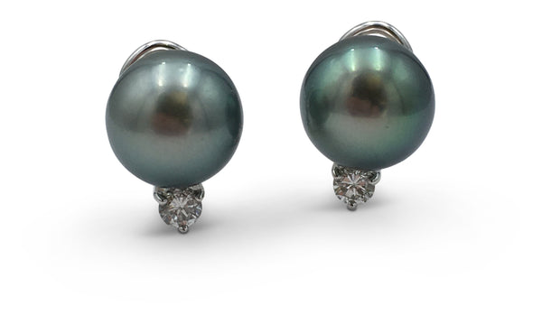 Mikimoto Black South Sea Cultured 'Tahitian' Pearl Diamond Earrings