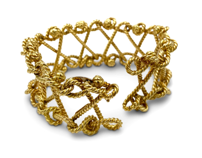 Verdura Gold Twisted Rope Openwork Bracelet