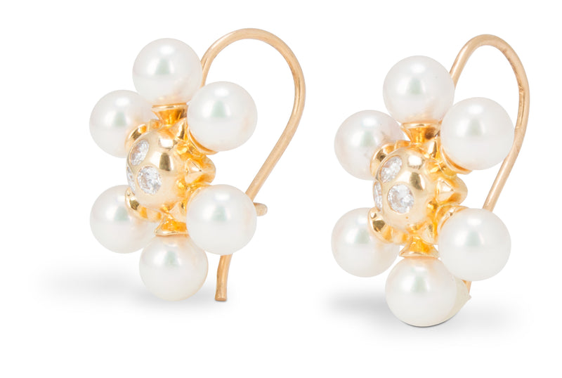 Mikimoto Pearl and Diamond Snowflake Earrings